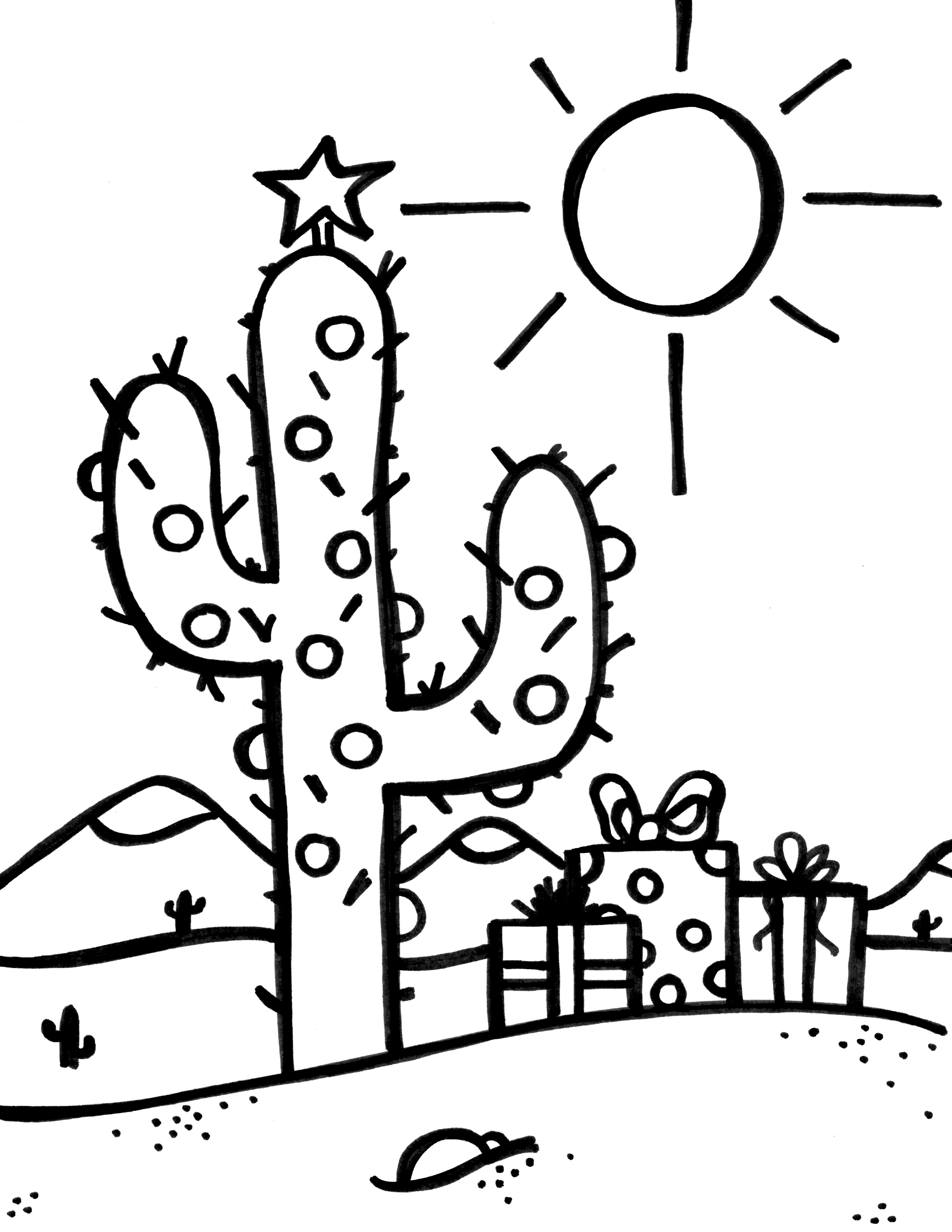 click here to get the christmas cactus coloring page - Pictures Coloring Pages
